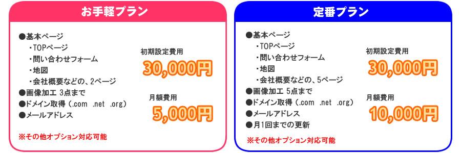 レンタルホームページ料金